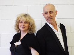 Poet with the Producer of UpFront Theatre Chris Wright in a Kickstarter production of Swallows and Handbags.
