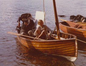 Sophie Neville in Swallow on Coniston Water in 1973 - with Amazon to the right